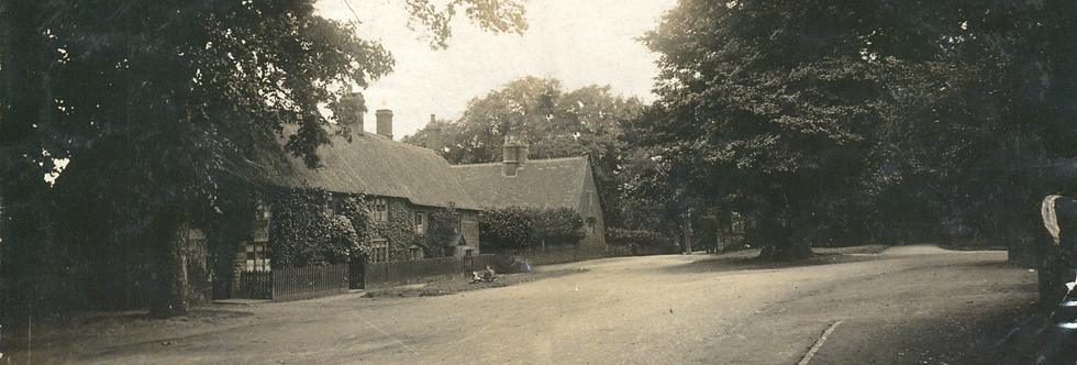 Postcard of Cross Tree Cottages - detail of children