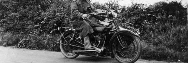 Percy Tyrrell on his Motorbike, 1920s