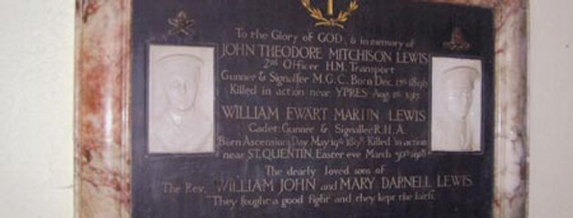 Memorial to the sons of Rev William Lewis, Eydon Church