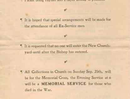 War Memorial Order of Service, 1921, back page