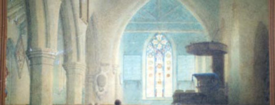 Water Colour of Church Interior, 1830s