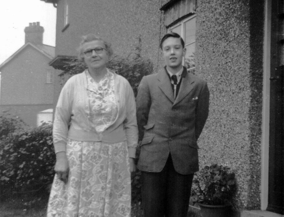 Mrs Watson & Cliff Kelcher outside 5 Preston Road around 1945