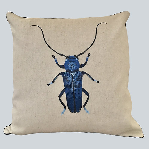 Embroidered Beetle Cushion Cover - Blue  Supplied as cover only.