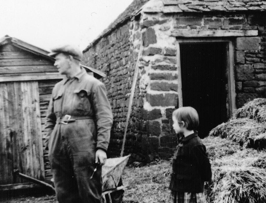 Charlie Fairbrother by the Cow House, Manor Farm 1960s