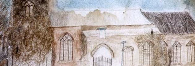 Naive Sketch of Eydon Church, 1840s