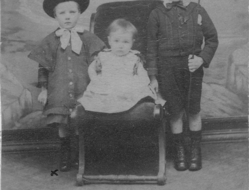 Rhoda Rogers and her two brothers, 1886