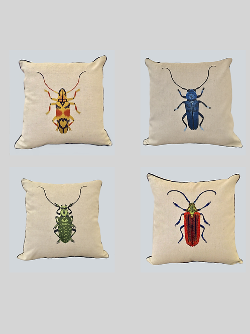 Set of 4 Embroidered Beetle Cushion Covers.  Supplied as covers only.