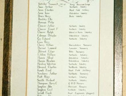 Eydon WW1 Roll of Honour, St Nicholas Church