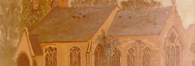 Naive painting of St Nicholas Church from south east