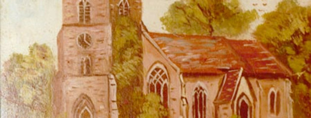 Naive painting of St Nicholas Church from south west