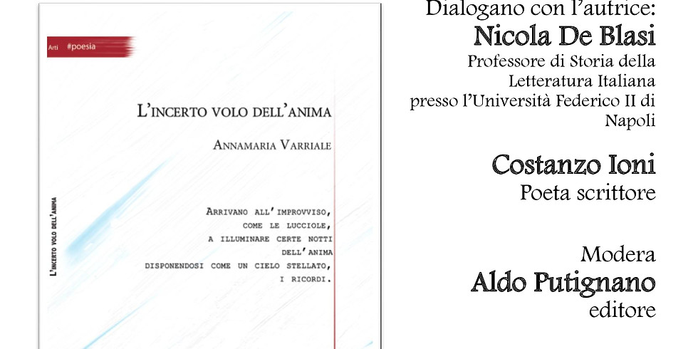"""Annamaria Varriale presenta """"L'incerto volo dell'anima"""" alla biblioteca """"Annalisa Durante"""" di Napoli"""
