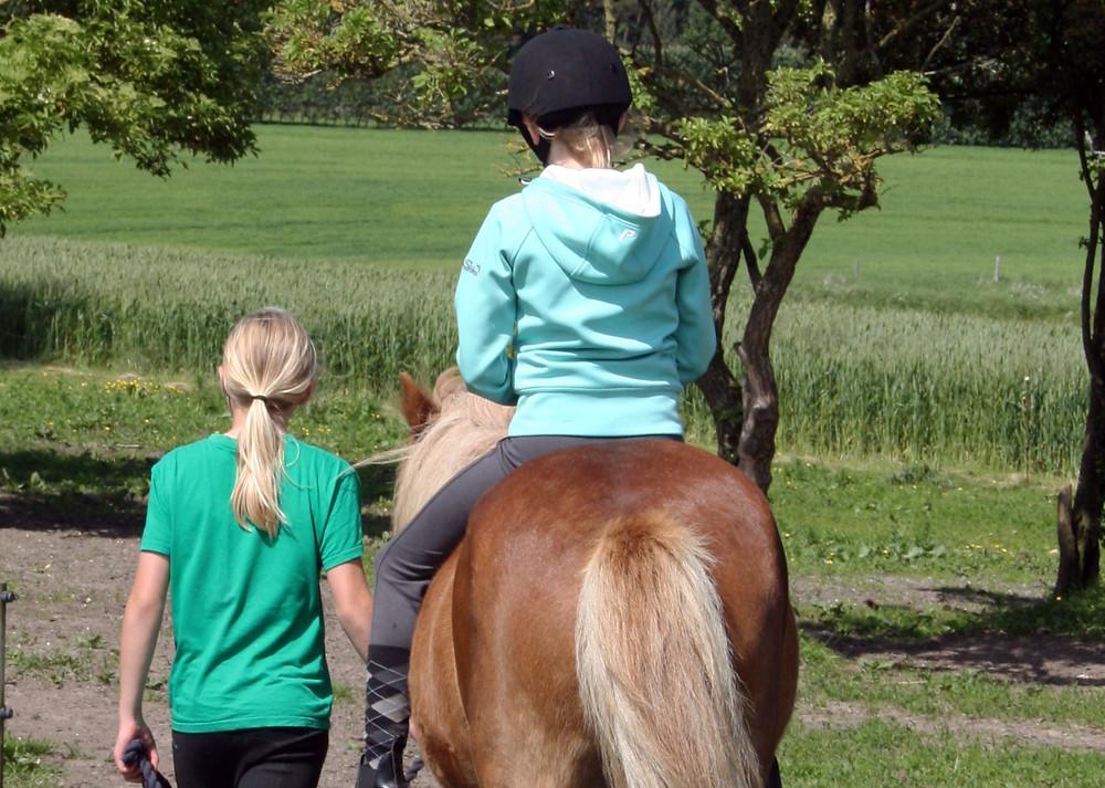 To piger med islandsk hest