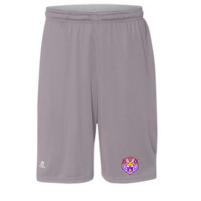 Grey - Printed Mesh Athletic Shorts