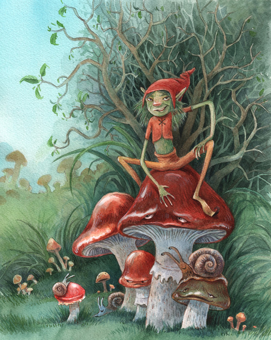 Pixie and the mushrooms