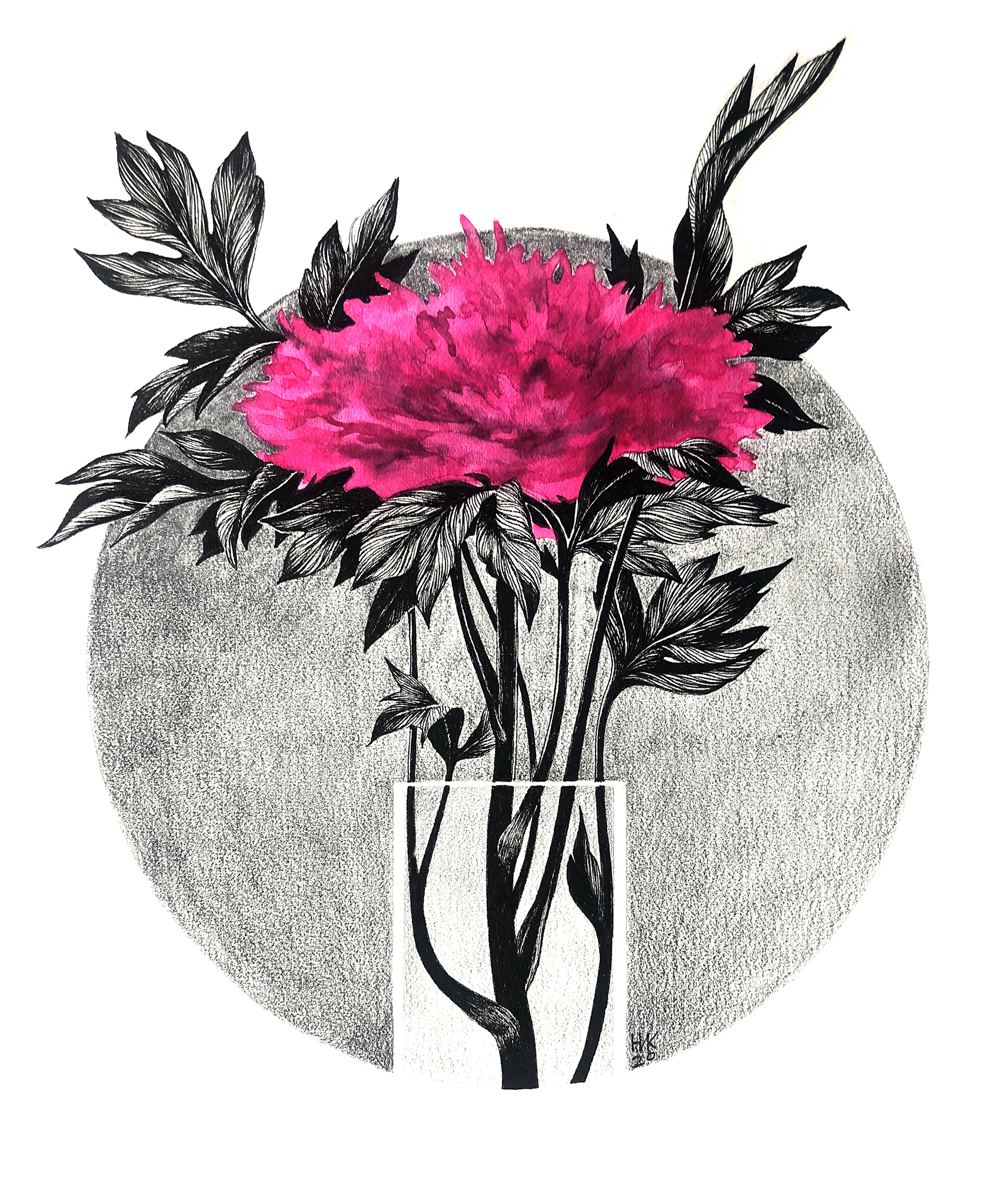 Pink Peony. Composition 2