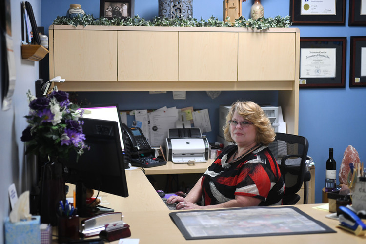 Beth working hard