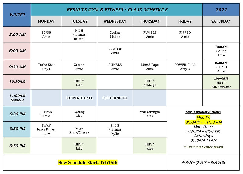 Updated Winter Class Schedule starting F