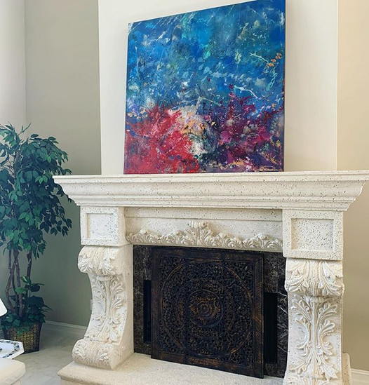 """Coral Whispers 50"""" x50"""" in her new home."""