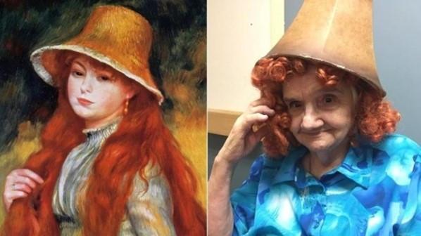 Jeune fille chapeau de paille Van Gogh Karen Schaefer femme âgée