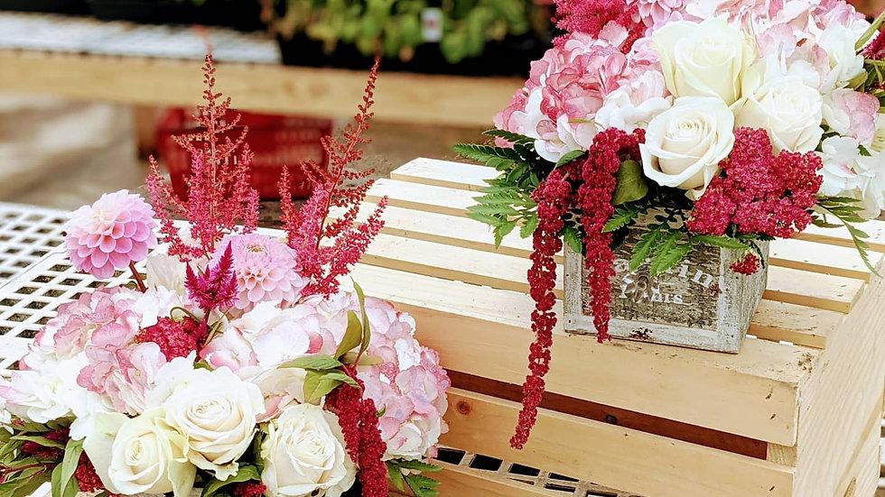 Pair of drawers with florist choice seasonal stems