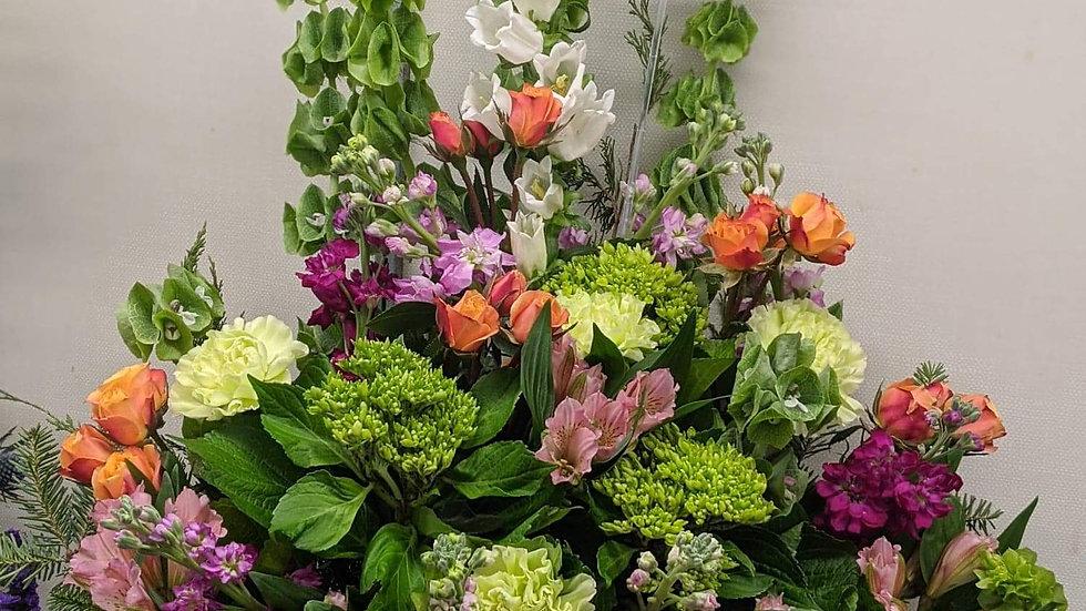 Florist choice sympathy basket valued at $120