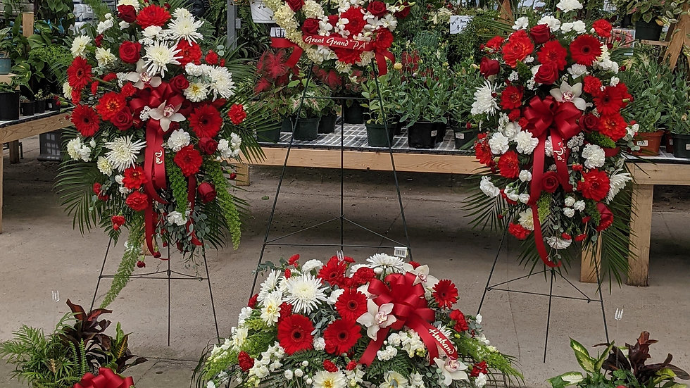 7 piece Funeral Package in red and white