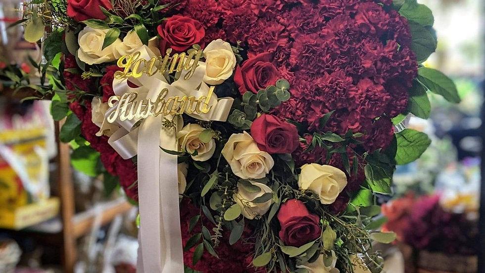 Memorial heart with rose sash