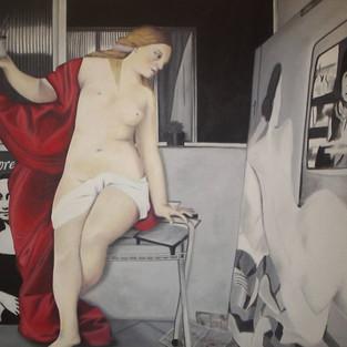 Meu duplo observendo minha pintura - série Fantasias do Cotidiano