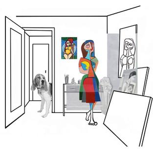 Picassiana observando seu desenho
