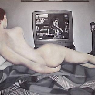 Meu duplo assistindo TV - série Fantasias do Cotidiano
