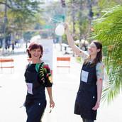 Cristiana e Gabriela da Primula flores no stand Design Week 2019