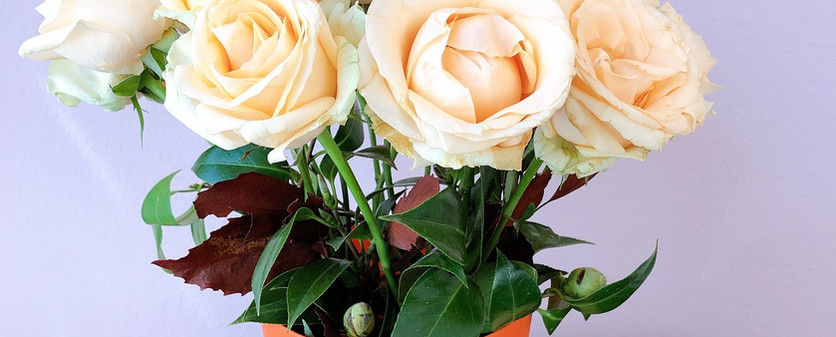 Vaso flores laranja