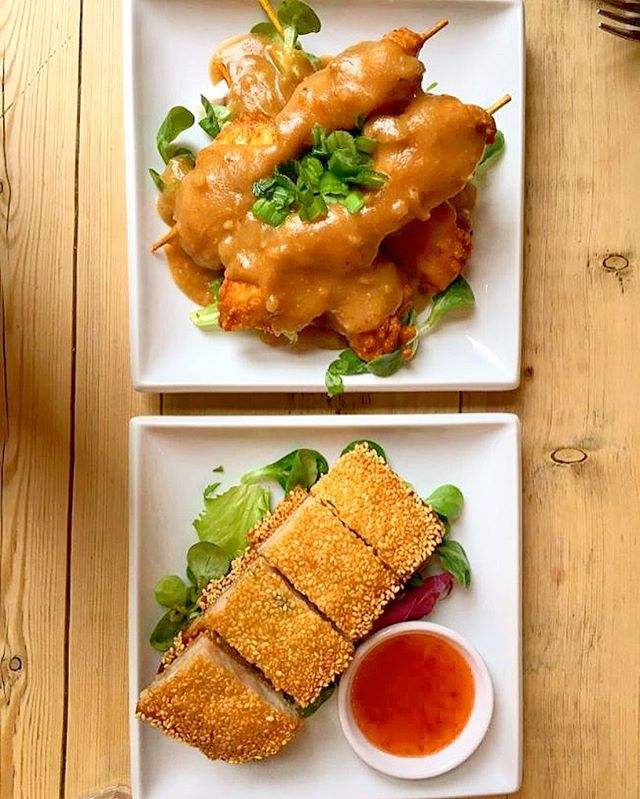 Skewered Satay Chicken + Sesame Prawn Toast_._