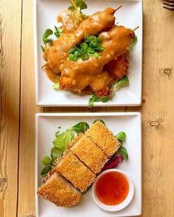 Skewered Satay Chicken + Sesame Prawn Toast_._