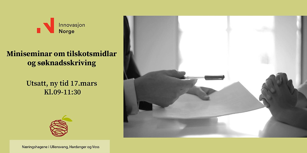 UTSATT, ny dato 17mars. Miniseminar om tilskotsmidlar og søknadsskriving