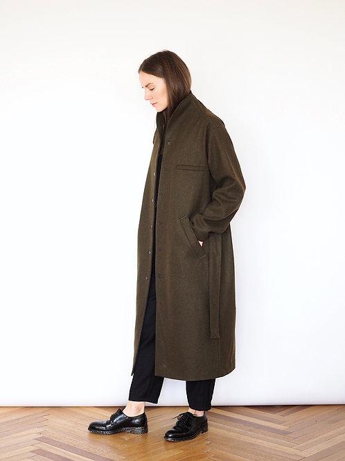 Пальто-кокон хаки