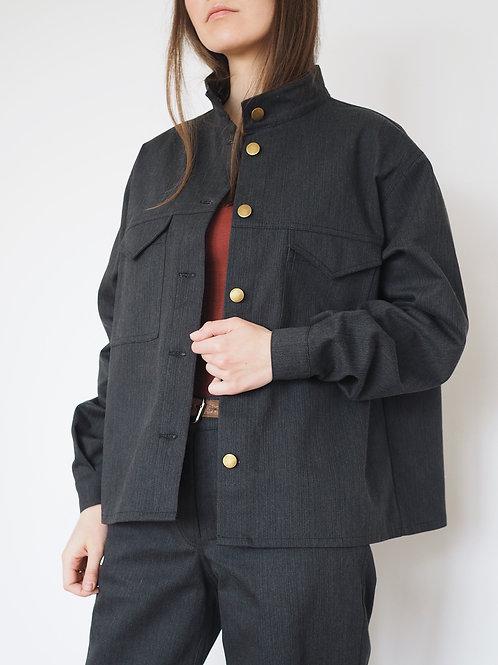 Куртка-рубашка из хлопка графит