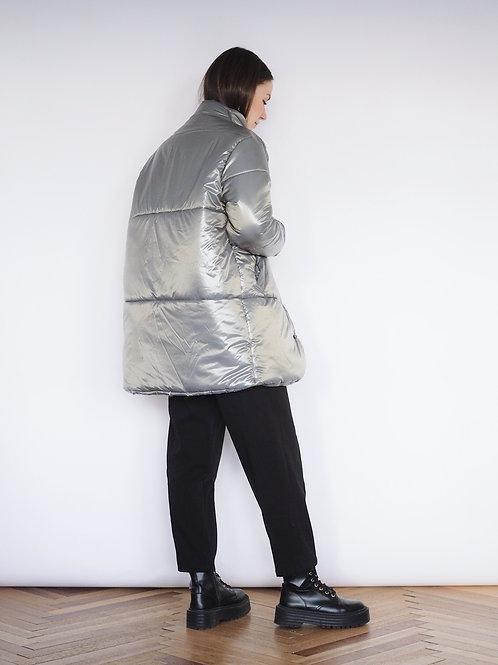 Пуховик серый с металлическим блеском