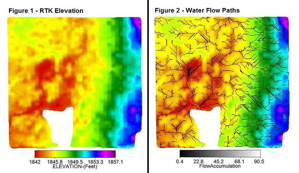 RTK Elevation Map, Water Flow Path Map, Elevation, Flow Accumulation