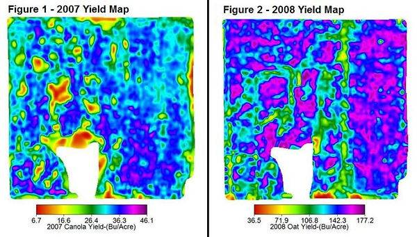 2007 Yield Map, 2008 Yield Map, Yield Map, Oat Yield, Canola Yield, Yield Maps