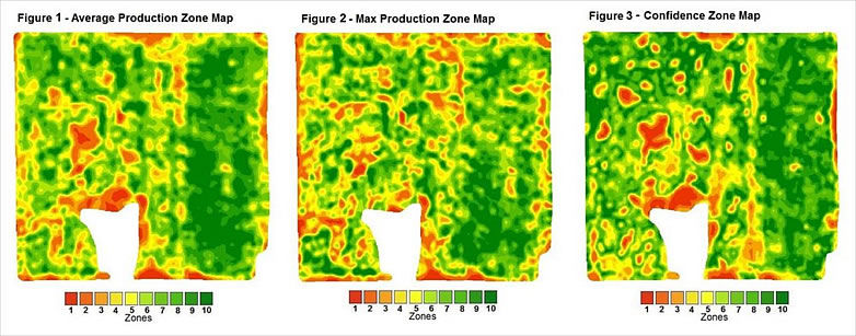 Average Production Zone Map, Max Production Zone Map, Confidence Zone Map, Confidence Maps, Satellite Imagery