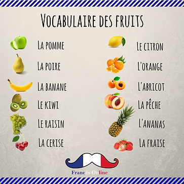 French vocabulary , french fruits