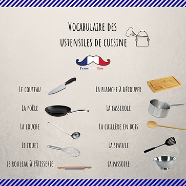 French vocabulary, kitchen cooking