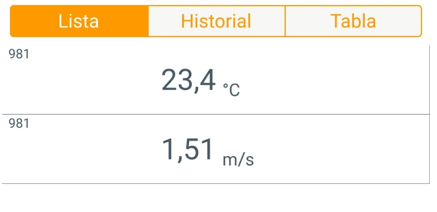 Velocidad del aire de muestra