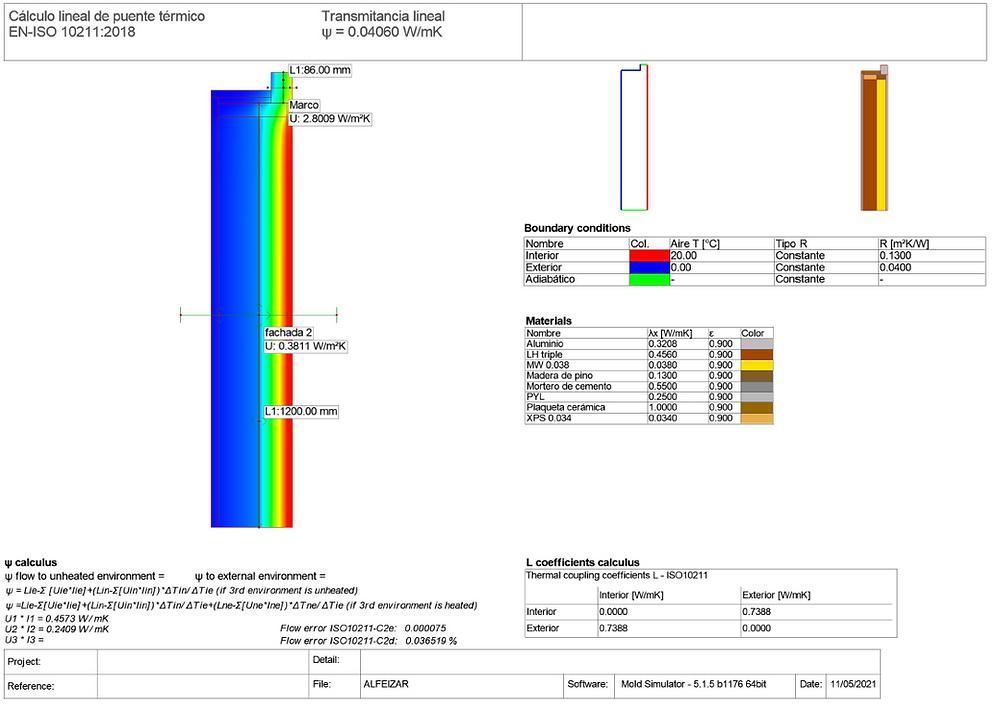 Cálculo de transmitancia lineal premarco de madera