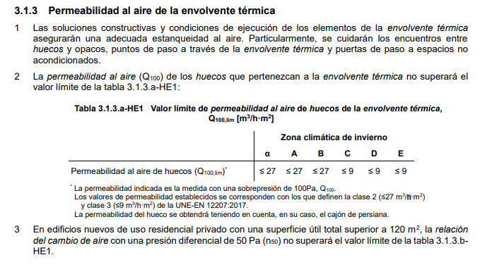 Permeabilidad al aire envolvente termica cte