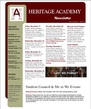 Happenings at Heritage: November Newsletter