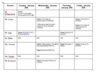 Senior (Grades 9 to 12) Exam Schedule - January 2017