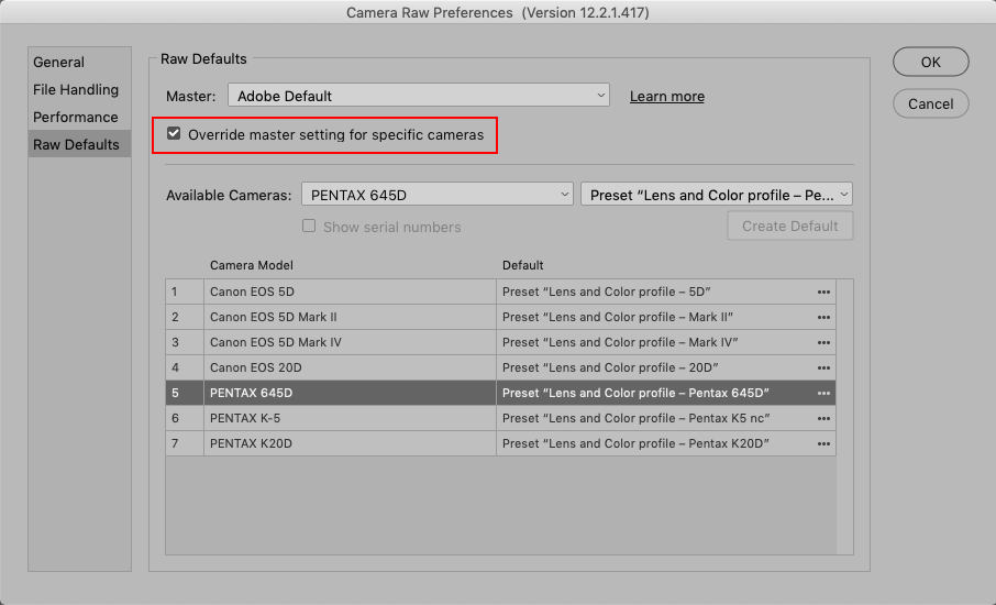Camera Raw Preferences, Override master setting for specific camera