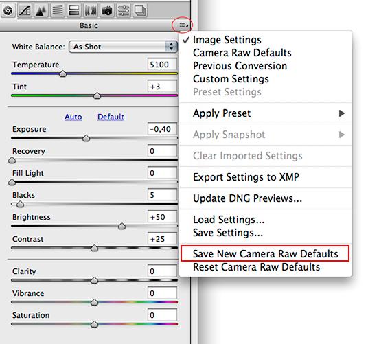 Adobe Camera Raw, Save New Camera Raw Defaults